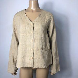 FLAX women's 100% linen button front shirt jacket